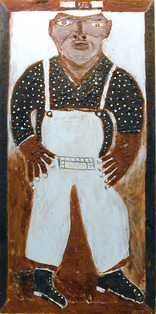 Jimmy Lee Sudduth – Self-Portrait in Overalls. Sudduth created his paintings using mud and pigments. Image courtesy Folk Fest/Slotin Auction. The work of Jimmy Lee Sudduth and many other African-American self-taught artists can be found at Folk Fest.