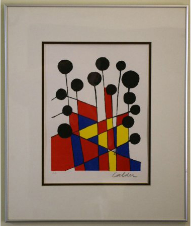 Alexander Calder's color serigraph is a pencil signed artist's proof. The 15 by 11 work is estimated at $150-$250. Image courtesy Leighton Galleries.