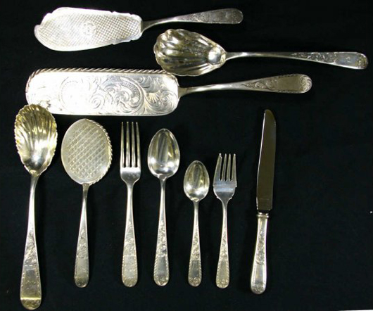Many serving pieces are included in this 144-piece set of Mayflower sterling silver flatware by S. Kirk, which is estimated at $2,400-$2,800. Image courtesy Leighton Galleries.