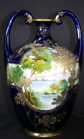 Embellished with gilding and beading, this 10 1/2-inch Nippon scenic vase is estimated at $300-$500. Image courtesy Leighton Galleries.