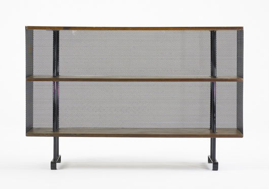 A bookcase by Muriel Coleman, circa 1948, made by Pacifica Iron Works, USA was estimated at $1,000-1,500. It sold for $4,688. Image courtesy Wright.