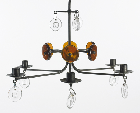 An Erik Hoglund iron and glass chandelier manufactured by Boda Nova glassworks and Axel Stromberg ironworks, Sweden, circa 1965 was estimated at $1,500-2,000. It sold for $188. Image courtesy Wright.