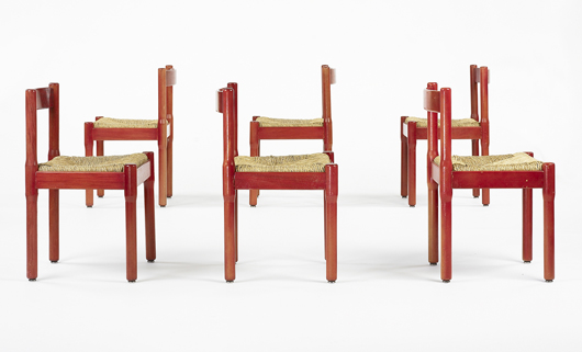 These six Vico Magistretti lacquered wood and rope dining chairs, Cassina, Italy, circa 1975, were estimated at $1,500-2,000. They sold as a group for $313. Image courtesy Wright.
