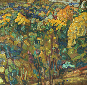 Hillside Landscape, Ukranian Village Scene, Abraham Manievich (Russian/American, 1881-1942), double-sided oil on canvas, 21 inches by 21.5 inches, signed and dated July 18, 1921. Estimate $25,000-$45,000. Image courtesy Trinity International.