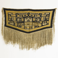 Decorated with stylized clan symbols and animal forms, Chilkat blankets were prestigeous items for the elite. This mid-19th century example sold for $19,000 at an auction in March. Image courtesy Rago Arts and Auction Center and Live Auctioneers Archive.