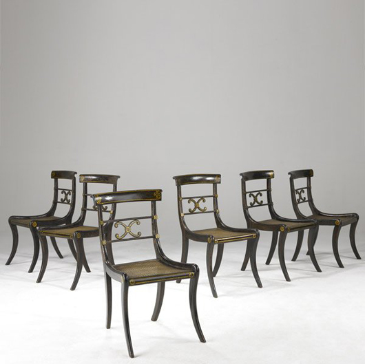 Six English Regency chairs with caned seats and original painted stenciling, 19th century, to be auctioned by Rago's on Aug. 8. Estimate $600-$800. Image courtesy Rago Arts & Auction Center and LiveAuctioneers.com.