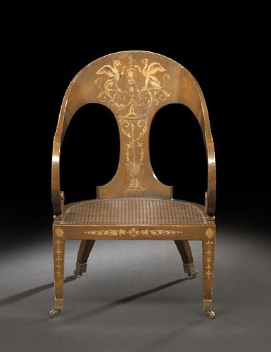Italian faux-bois polychromed gondola chair with caned seat, early 20th century, to be sold Aug. 8 by New Orleans Auction Galleries. Estimate $800-$1,200. Image courtesy New Orleans Auction Galleries and LiveAuctioneers.com.