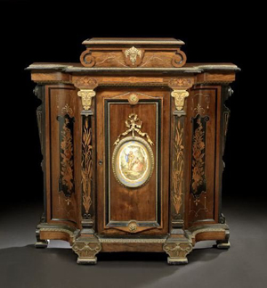 Alexander Roux is credited with creating this Neo-Grec inlaid rosewood cabinet at his New York shops in the third quarter of the 19th century. It has a $6,000-$9,000 estimate. Image courtesy New Orleans Auction Galleries.