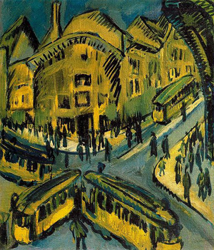 An outstanding example of German Expressionist art is Ernst Ludwig Kirchner's (German, 1880-1938) 1912 oil on canvas titled Nollendorfplatz, currently displayed at Stiftung Stadtmuseum Berlin. Public domain image courtesy Wikimedia Commons.