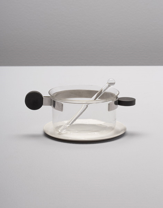 Extremely rare and important steel, ebony and porcelain tea glass with saucer and stirrer, 1926, designed by Bauhaus student and professor Josef Albers (1888-1976). Exhibited at Museum of Modern Art's Bauhaus 1910-1928 show in New York, 1938. Sold at Phillips de Pury for $225,000 on Dec. 14, 2006. Image courtesy LiveAuctioneers.com Archive and Phillips de Pury.