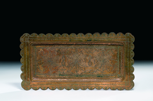 Copper tray with elaborate Navajo stamping reminiscent of Fred Harvey sold for $646.25 in Cowan's American Indian and Western Art Auction in April. Image courtesy Cowan's.