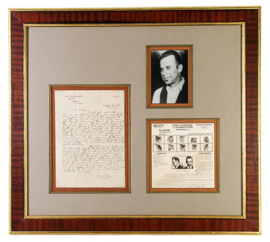 Letter written by John Dillinger to his niece while incarcerated, together with a photo of Dillinger and an official Wanted poster. Auctioned at Leslie Hindman Auctioneers on July 28, 2009 for $60,400 - 10 times the high estimate. Image courtesy LiveAuctioneers.com Archive and Leslie Hindman Auctioneers.