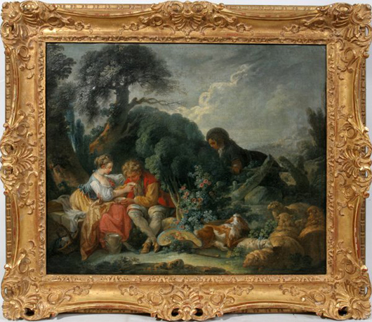 Fine detail is noted in this oil on canvas painting attributed to Jean Baptiste Huet (French, 1745-1811). It carries a $20,000-$30,000 estimate. Image courtesy DuMouchelles.