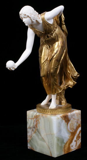 The ivory hands and face of this chryselephantine sculpture by Walter Schott (German, 1861-1938) are in sound condition. The gilded bronze is from the Gladenbeck Foundry, Berlin. Image courtesy DuMouchelles.