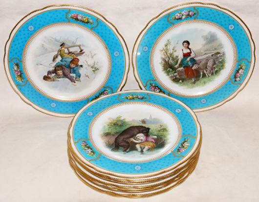 Brownsfield, a venerable English pottery, produced this set of hand-painted porcelain plates for Tiffany & Co. around the turn of the 20th century. Each of the 9-inch plates is artist signed and titled on the reverse. Image courtesy DuMouchelles.