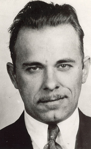 FBI mugshot of notorious 1930s bank robber John Dillinger.