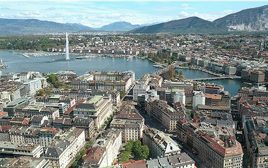 Panoramic view of Geneva. Image by MadGeographer. Courtesy Wikimedia Commons.