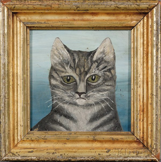 Lot 453 American school, 19th-century portrait of a gray tiger cat, est. $800-$1,200. Image courtesy LiveAuctioneers.com and Skinner Inc.