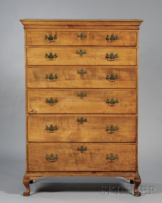 Lot 433 Queen Anne maple tall chest of drawers, attributed to Peter Bartlett, Salisbury, Mass., c. 1800, est. $1,500-$2,500. Image courtesy LiveAuctioneers.com and Skinner Inc.