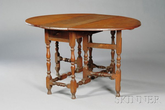 Lot 254 William & Mary maple oval-top gateleg table, New England, early 18th century, est. $2,000-$4,000. Image courtesy LiveAuctioneers.com and Skinner Inc.