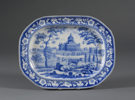 This 14-inch platter by Rogers & Son, early 19th century, depicts the Boston State House with cows grazing on the Common in front; the Staffordshire piece auctioned in February for $1,500. Courtesy Skinner Inc.