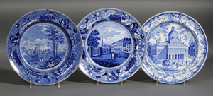 """This trio of transfer-printed plates, auctioned for $300 in February 2008, features a view of the """"Park Theater New York"""" with oak leaf and acorn border, by Ralph Stevenson & Williams. Courtesy Skinner Inc."""