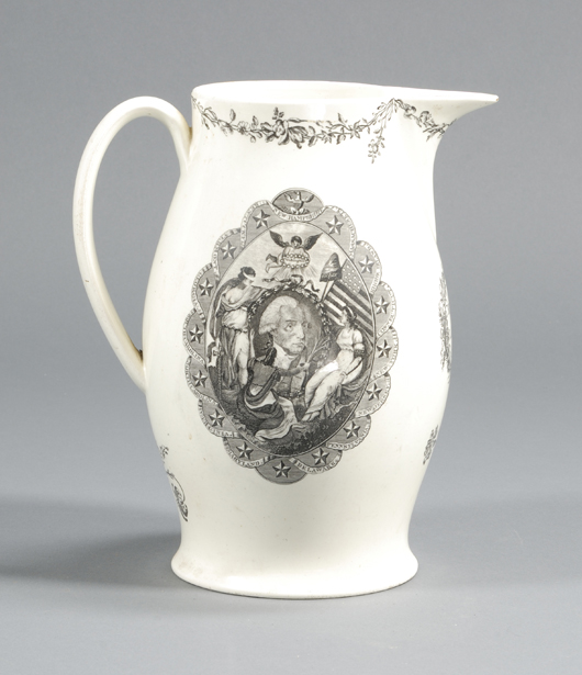 A Liverpool creamware jug, decorated with a black transfer image of George Washington and the figures of Liberty and Justice surrounded by a chain of 15 states, sold at auction earlier this year for $2,600. Courtesy Skinner, Inc.