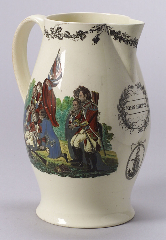 A transfer-printed Staffordshire jug, decorated with an American Eagle, Shield, and Banner inscribed 'E PLURIBUS UNUM' under the spout, brought $1,200 at auction in 2008. Courtesy Skinner Inc.