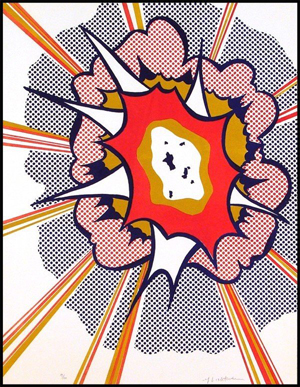 Roy Lichtenstein's 'Explosion' is contained in a sealed Plexiglas box frame. The 1967 color lithograph, 22 by 6 17 inches, has a $4,000-$6,000 estimate. Image courtesy Clark Cierlak Fine Arts.