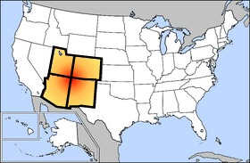 The Four Corners region is in the red area on this map. Image courtesy Wikimedia Commons.