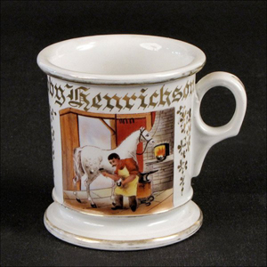 Koken Barber Supply Co. of St. Louis distributed this blacksmith's or farrier's occupational shaving mug. It has a $600-$800 estimate. Image courtesy Susanin's.