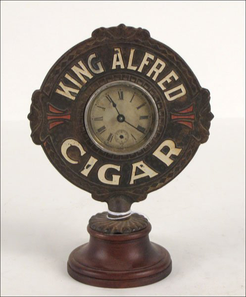 The maker of King Alfred Cigars provided these clocks to cigar stores. It has a $150-$250 estimate. Image courtesy Susanin's.