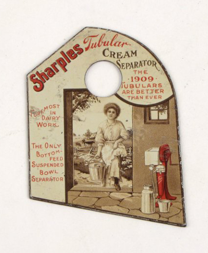 The Sharples Tubular Cream Separator separated cream from raw milk, making the milkmaid's chores easier. This advertising pot scraper was a giveaway 100 years ago. It has a $150-$200 estimate. Image courtesy Susanin's.