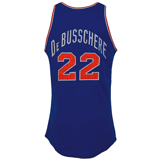 Dave DeBusschere N.Y. Knicks game-used road jersey from championship season, with letter of authenticity. Reserve: $10,000.