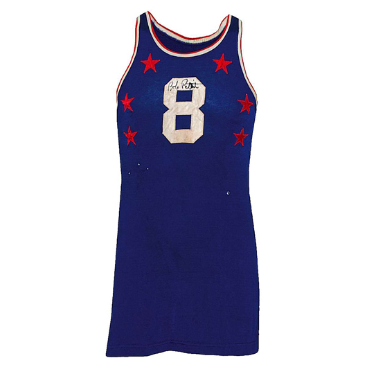 1955 Bob Pettit rookie Milwaukee Hawks NBA All-Star Game-used and autographed jersey, with Pettit letter of authenticity. Reserve: $20,000.