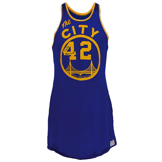 1967-1968 Nate Thurmond Golden State Warriors game-used and autographed road jersey, with Thurmond letter of authenticity. Reserve: $10,000.