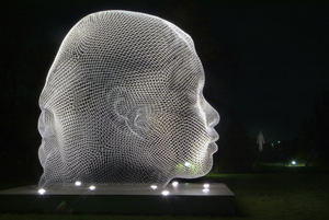 Sho, 2007, by Jaume Plensa (b. 1955). Stainless steel. Museum purchase with funds from The Pollock Foundation, the family of Mr. and Mrs. Richard R. Pollock, and the family of Mr. Lawrence S. Pollock, III, in honor of Mrs. Shirley Pollock, MM.2009.01.