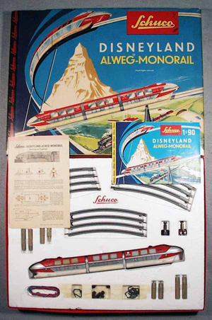 The Schuco 6333 Disneyland Monorail mirrors the monorail that opened at the theme park in Anaheim, Calif., in 1959. This set is unused in the box. It has a $200-$400 estimate. Image courtesy Lloyd Ralston Gallery.