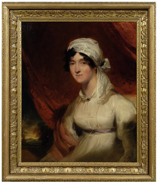 Accompanying this circa 1811 portrait of Jean Babington is an appraisal from Newhouse Galleries, dated December 22, 1982. Mrs. Babington is arrayed in a white empire gown with her hair wrapped in a scarf. Her Thomas Lawrence portrait is expected to sell for between $20,000 and $30,000. Image courtesy Brunk Auctions.