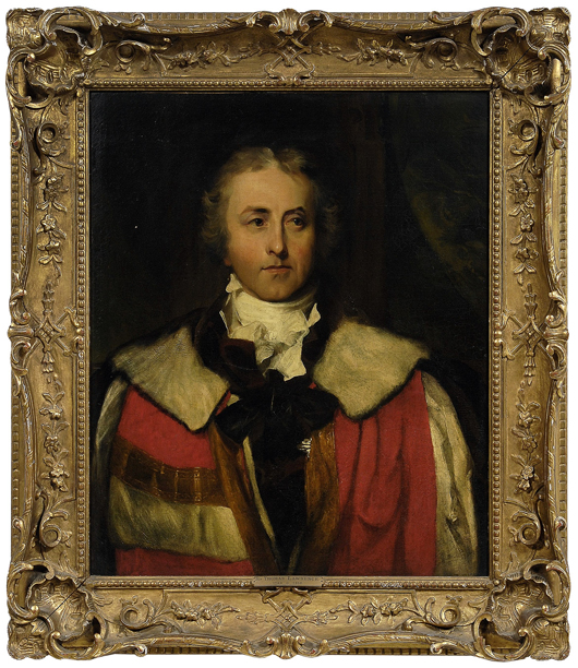 Unsigned, but attributed to Sir Thomas Lawrence (British, 1769-1830) is this half-portrait of James Hamilton, Marquess of Abercorn, in his earl's robes. The frame is early 20th century carved and gilt wood. Consigned by the Hickory Museum of Art, the oil on canvas is expected to bring $20,000 to $30,000. Image courtesy Brunk Auctions.
