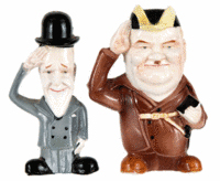 This pair of salt and pepper shakers was made to depict Laurel and Hardy, the famous comedians. It dates from about 1950 and is marked with a paper sticker that says 'Japan.' It sold for $173 at a Hake's Americana & Collectibles auction in York, Pa.
