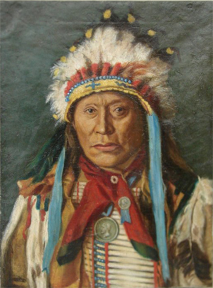 Oil portrait of Indian chief by Henry C. Balink, signed, 24 inches by 28 inches, estimate $4,000-$6,000. Courtesy Mid-Hudson Auction Galleries.
