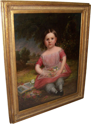 American primitive oil painting of Nellie Bronson Goddard, 36 inches by 43½ inches (sight), estimate $4,000-$6,000. Image courtesy LiveAuctioneers.com and Langston Auction Gallery.