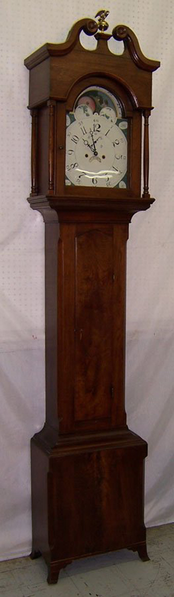 18th-century Pennsylvania walnut tall case clock with moon dial, estimate $10,000-$15,000. Image courtesy LiveAuctioneers.com and Langston Auction Gallery.