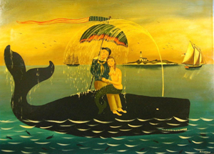 """Ralph Cahoon """"Sailor and Mermaid Showered by Sperm Whale,"""