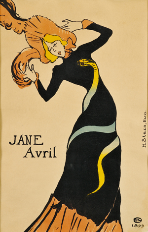 Henri de Toulouse-Lautrec (French, 1864-1901) Jane Avril, 1899, color lithographic poster on paper. Est. $50,000-$70,000. Image courtesy LiveAuctioneers.com and Skinner Inc.