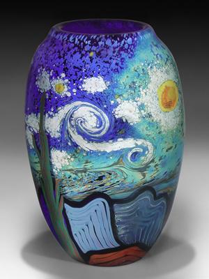 Steven Lundberg magnum vase titled Vincent's Vision, 11 inches, estimate $7,500-$10,200. Image courtesy L.H. Selman Ltd.