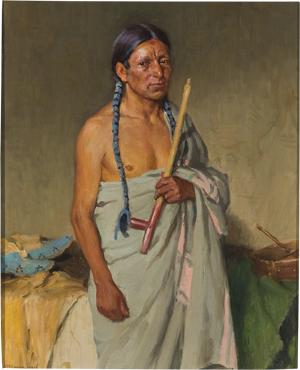 Portrait of Elk Foot Jerry, Taos, by Joseph Henry Sharp, est. $40,000-$60,000. Image courtesy Cowan's Auctions.