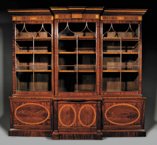 A New Orleans collector paid $41,125 for this circa 1790 George III monumental breakfront bookcase. Image courtesy Neal Auction Co.