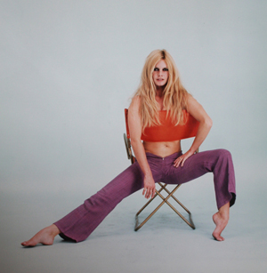 Brigitte Bardot at a photo shoot at the Paris salon of the man who discovered her, the celebrated fashion designer Jean Barthet. Photograph by Sam Levin, late 1960s. Image courtesy James Hyman Gallery, London.